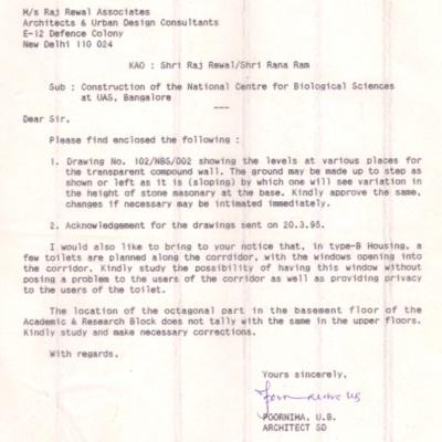 1995 Mar Poornima To Raj Rewal - Toilet note.tif