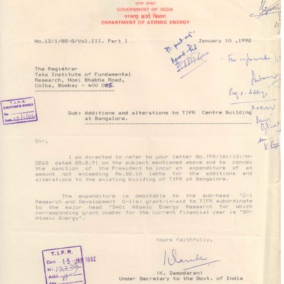 1992 Jan - DAE to TIFR - NCBS IISc renovation order.tif