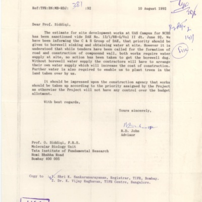 1992 Aug - RD John to Siddiqi - Borewell need at NCBS site.tif