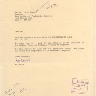 1993 May NCBS Raj Rewal Hiring.tif