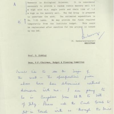 1991 Jul NCBS compound wall - Siddiqi reply 2.tif